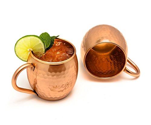 Zap Impex Reines Kupfer Moscow Mule Fass Tasse, Keine Beschichtung, gehämmerten Kupfer, ideal für alle gekühlten Getränk blendend zu unterhalten und Bar oder zu Hause, große Bar Geschenk-Set von 2
