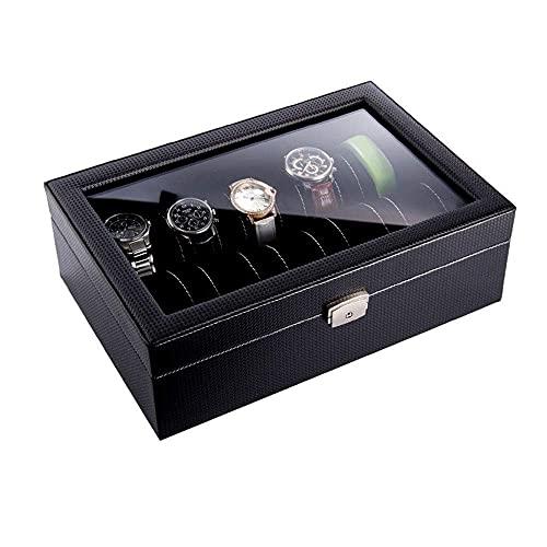 Joyero para Mujer Elegante Caja de Reloj, Cuero de Fibra de Carbono Caja de presentación de 10 Relojes Caja de Almacenamiento de Reloj Techo corredizo Transparente con Cerradura Cajas de rel