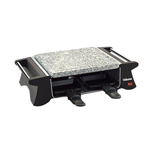 TriStar Raclette RA-2990 – Parrilla y Plancha de Piedra, Adecuada para Cuatro Personas, 500 W, Negro, Acero Inoxidable