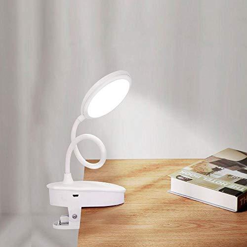 Lámpara de escritorio con abrazadera LED recargable por USB Clip de atenuación táctil con cuello de cisne en la luz de lectura para la cama del libro-Los 9.5x45x6.5cm