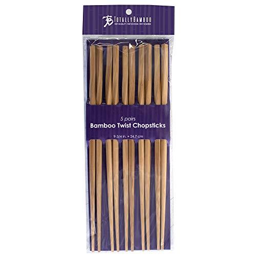 Totally Bamboo 20-2003 Twist Reusable Bamboo Chopsticks, Set of 5 Pairs, 9.75' Long, Honey