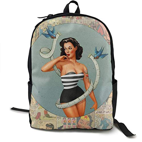 zhengchunleiX Sports Book Bags,Casual Rucksack,Travel Daypacks,Pin-Up Girl Unique Mochila Durable Oxford Outdoor College Students Busines Laptop Computer Shoulder Bags