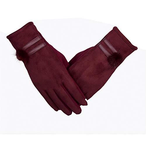 UGGHGHK Strauß-Handschuh-Frauen-Weiblicher Handschuh-Handgelenk-Handschuh-Fester Touch Screen Herbst-Winter-Im Freien Warme Umgekehrte Baumwollhandschuhe