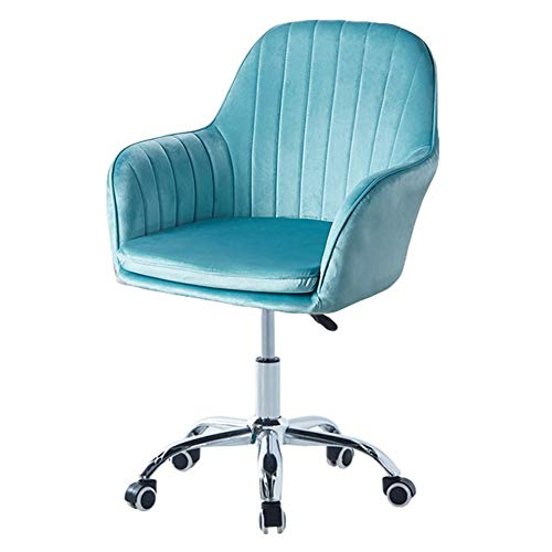 ZWQASP Velvet Desk Chairs Swivel Chair, Ergonomic Comfy Cushion Computer Chair Adjustable Height Office Chair with Arms and Wheels, for Bedroom Study (Color : Blue)
