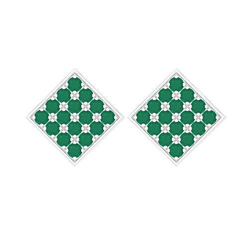 Rosec Jewels 10 quilates oro blanco redonda Green Ónice verde