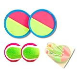 QiCheng Toss and Catch Ball Set Paddle Ball Game Velcro Beach Toys Back Yard Outdoor Lawn Backyard Throw Sticky Set Age 3-12 YearsKids Boys Girls Adults Family(with 2 Paddles 2 Balls 1Storage Bag)