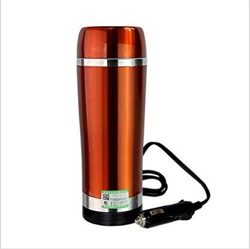 Bouilloire électrique pour voiture Bouilloire 12 volts Chauffe-éclair Chauffe-tasse Isolation au vide en acier inoxydable-Or Bouteille isotherme , 1