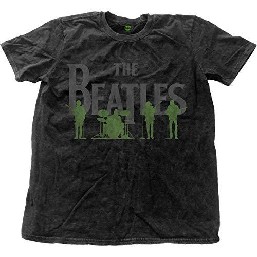 Rockoff The Beatles Saville Row Line Up Snow Wash T-Shirt, Nero, L Uomo