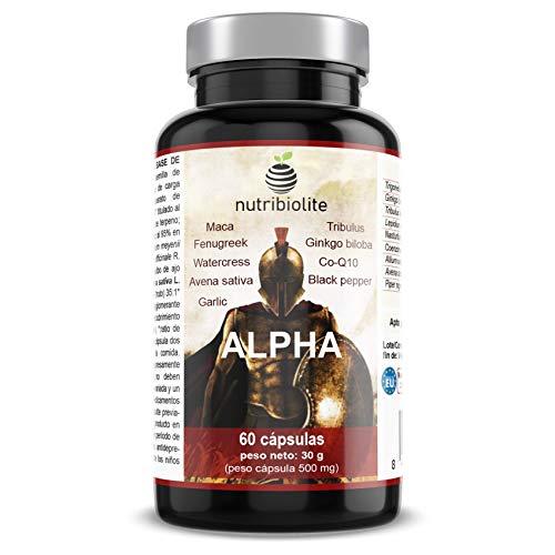 Alpha - Fuerza + Energía + Masa Muscular Suplemento Deportivo con Fenogreco Ginkgo Biloba Tribulus Terrestris Maca CoQ10 Piperina Avena Sativa
