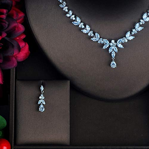 Zyuan Sparkly Rhinestone CZ Bride Jewelry Sets For Women White Gold Color Flower Earring Necklace Set ShanDD (Color : White gold color)