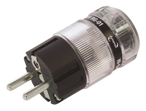 Dynavox High-End Schutzkontaktstecker aus thermoplastischem Kunststoff für Hifi-Geräte, Audio-Verstärker, CD-Player, Subwoofer, rhodiniert