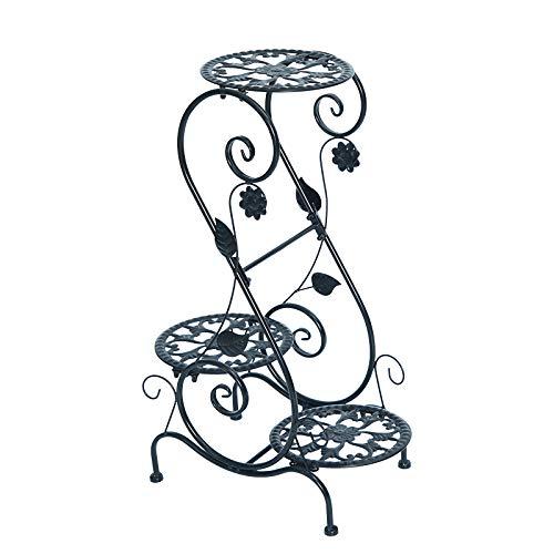 Soporte De La Planta De Metal, Flor del Hogar del Estante De Varios Pisos Cubierta Balcón del Espacio Flor Estante De Hierro Forjado De Múltiples Capas Sala Tiesto Estante,Marrón