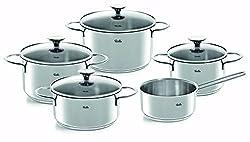 Fissler copenhagen / Edelstahl-Topfset, 5-teilig, Kochtopf-Set, Töpfe mit Glas-Deckel, Induktion, alle Herdarten (3 Kochtöpfe, 1 Bratentopf, 1 Stielkasserolle-deckellos)