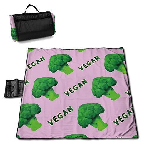 Tyyyy Gran Manta de Picnic al Aire Libre a Prueba de Agua Brócoli Vegano Verde Rosa A Prueba de Arena Playa Mat Tote para Acampar Senderismo Hierba Viajar