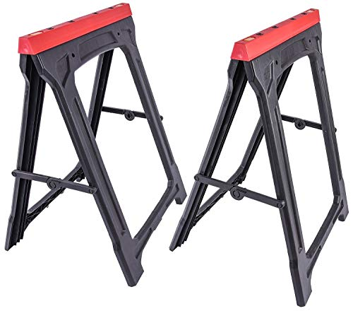 JEGS Folding Sawhorses (Pair) | 350 LBS Capacity | Weather-Resistant Polypropylene | Dimensions: 21 Inches Long x 1.75 Inches Wide x 30 Inches High | Folds Flat To 2 Inches | 2 Per Package