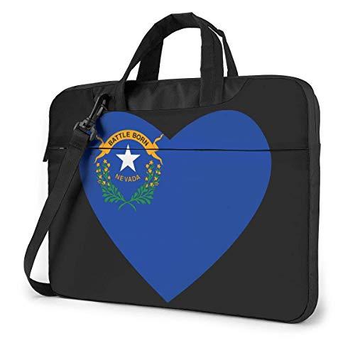 Flag of Nevada Heart Laptop Bag Un Hombro Bolsa para computadora portátil a Prueba de Golpes