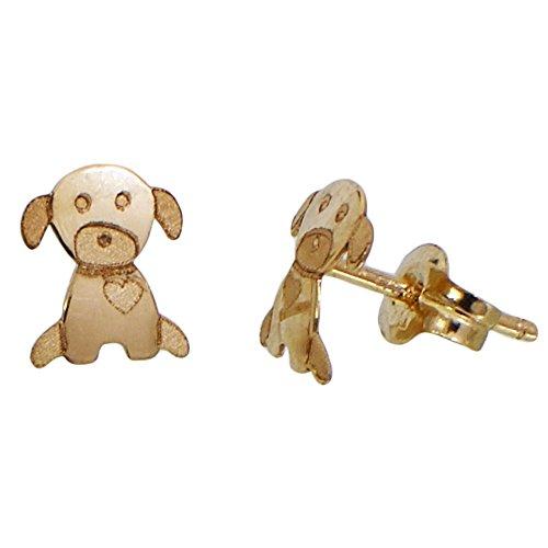I-be, Hund mit Herz Ohrstecker, 14 k (585) Gold, 6x6,5 mm, 35585213001P
