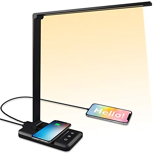 Led Desk Lamp with Wireless Charger, Wireless Table Lamp with USB Port Led Table Lamp 5 Brightness Level and 5 Lighting Modes, wireless table lamp for reading,study,office, 30/60min Auto Timer