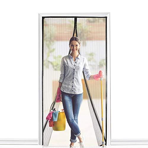 BALFER Magnet Fliegengitter Tür Insektenschutz Vorhang 90x210cm Magnet Fliegenvorhang, Klebmontage ohne Bohren, Vorhang für Balkontür Wohnzimmer Schiebetür Terrassentür