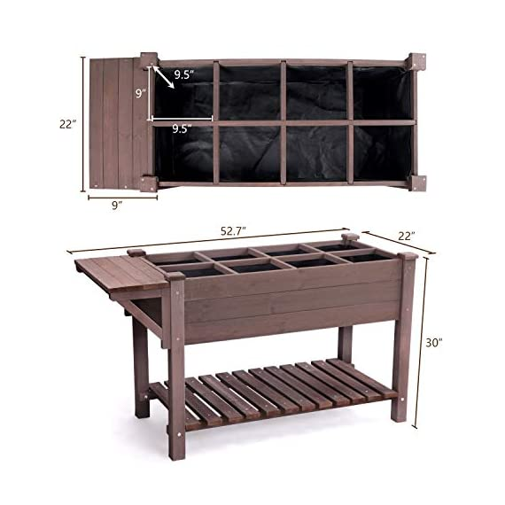 """Raised Garden Bed, Elevated Plant Boxes Outdoor Large with Grow Grid - with Large Storage Shelf 52.7"""" x 22"""" x 30"""" 4 ★ Upgrade with EXTRA side workstation and large bottom storage layer provides a spacious and convenient place to work & store. ★ Easy Growing Up To 8 different herbs/flowers/vegetable with grow grid. The dividers can be easy remove so it's one BIG OPEN PLANTER. ★ FREE INNER LINING are include to separate wood and soil. Spacious raised planter to ensure your plants and vegetables can breathe and grow healthy."""