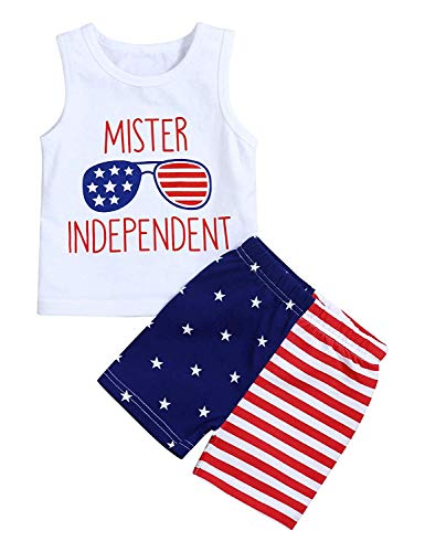 Xmas gift 4th of July Baby Outfits Newborn Baby American Flag Sleeveless Tank Tops Stripes US Flag...