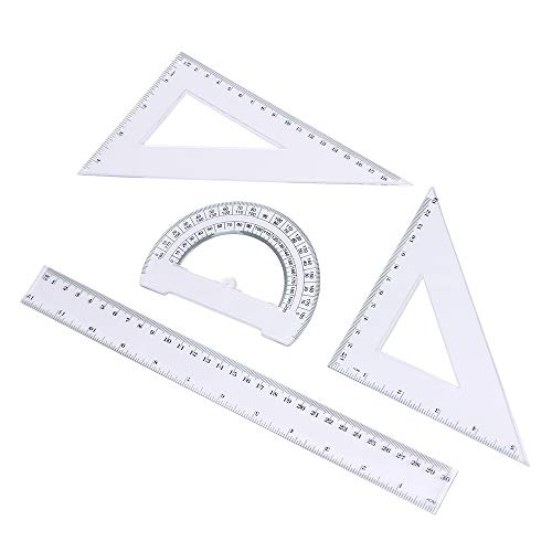Eagle Math Geometry Tools, 4 Pieces-Set, Includes Linear Ruler, Protractor, Set Squares, for Student Drawing and Drafting