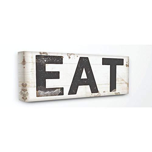 Stupell Industries Eat Typografie Vintage Schild Gespannte Leinwand Art Wand, -