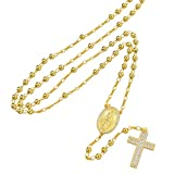 Harlembling Solid 925 Sterling Silver - Baguette Cross Rosary Beads -14k Yellow Gold Finish - 4mm 24' Men's Rosario Necklace