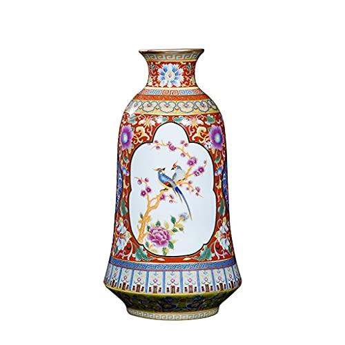 ZH1 Decoración de jarrón de cerámica, Pintado a Mano Antiguo, Esmalte de la Rosa de la Rosa, Botella de mazo de la Boca Redonda, tamaño: Altura 25 cm, diámetro 6 cm, diámetro Inferior 8,5 cm