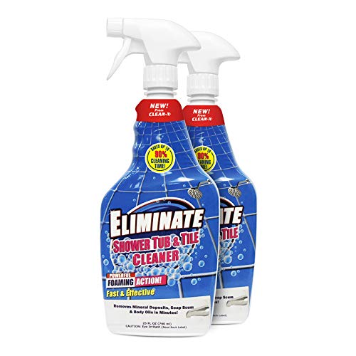 Eliminate Shower Tub & Tile Cleaner- 25 fl oz. - Shower Cleaner. Powerful Cleaner removes soap scum and Hard Water Minerals by UNELKO- Clean-X Invisible Shield (2)
