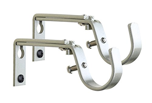 MERIVILLE Set of 2 Curtain Drapery Rod Bracket for 1 1/4-Inch Rod, Adjustable (Pewter)