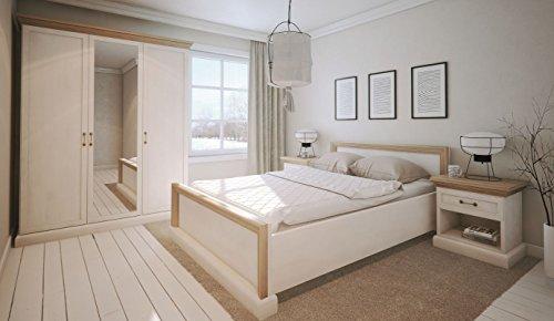 Schlafzimmer Komplett - Set E Badile, 4-teilig, Farbe: Kiefer Weiß / Braun
