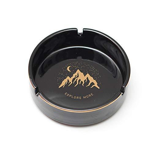 MMGC Kreativer Keramikaschenbecher mit winddichter Abdeckung und Flugasche