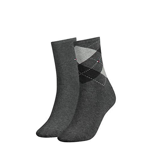 Tommy Hilfiger Damen Socken, 2er Pack, Grau (middle grey melange 758), 39/42