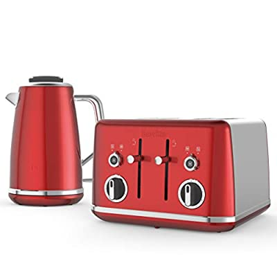 Breville Lustra Kettle & Toaster Set with 4 Slice Toaster & Electric Kettle (3kW Fast Boil), Candy Red
