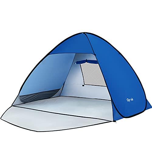 Glymnis Tenda da Spiaggia Completamente Chiuso Tenda Spiaggia Pop-up con Cerniera Tenda Istantanea Portatile 175 * 200 * 125 cm per 2-4 Persone, Protezione Solare UPF 50+, Include Borsa Portatile