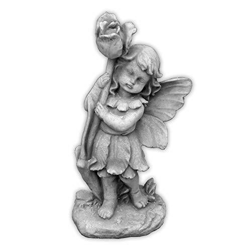 Massive Steinfigur Elfe mit Rose Fee Steinguss frostfest Raumdeko Gartendeko