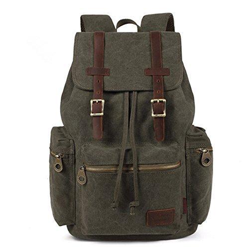 Aidonger Damen und Herren Vintage Stabiles Canvas und Leder Rucksack Retro Schulrucksack Backpack für Outdoor Sports Uni Reise (Armee Grün)