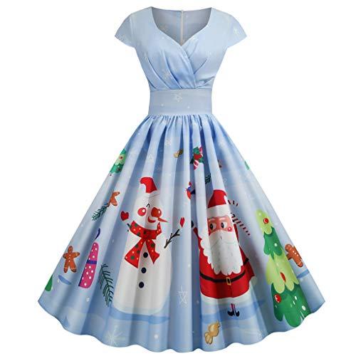PPangUDing Weihnachtenkleid Damen 1950er Vintage Abendkleid Cocktailkleid, Elegant V-Ausschnitt Kurzarm Schneemann Drucken Christmas Party Kleid...