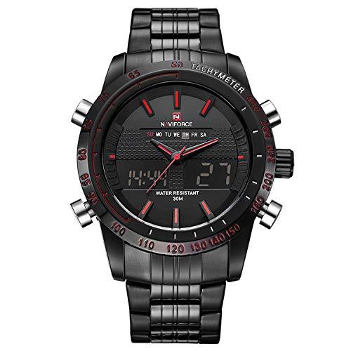 Modische, analoge und digitale Herren-Sport-Armbanduhr, zweifache Zeitanzeige, Datum und Tag, wasserdicht, Edelstahl, schwarz