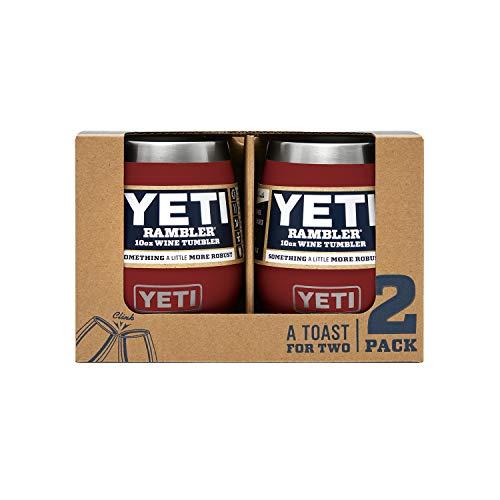 YETI Rambler 10 oz Stainless Steel Vacuum Insulated Wine Tumbler, 2 Pack, Brick Red