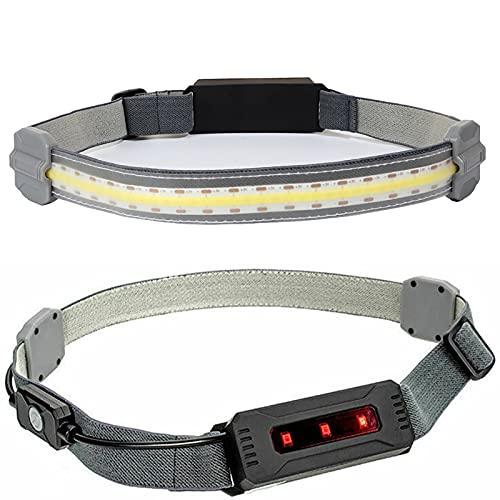 Linterna Frontal de Haz Ancho de 220 ° con luz roja Trasera de Advertencia 3 Modos USB Recargable COB Wick Faro con Diadema elástica para Pescar, Correr y Acampar