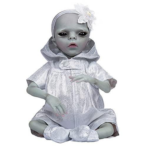 YIHANGG Muñeca Reborn De 14 Pulgadas Muñeca con Acabado Alienígena Muñeca Pintada Hecha A Mano Detallada Color De Piel Azul Coleccionable