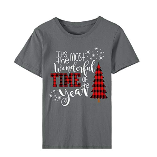 Alwayswin Weihnachten Damenmode Kurzarm T-Shirt Casual O-Ausschnitt T-Shirt Cute Holiday Shirt Lose Elegant Kurzärmliges Oberteil Drucken Wild T-Shirt Blusen Tops