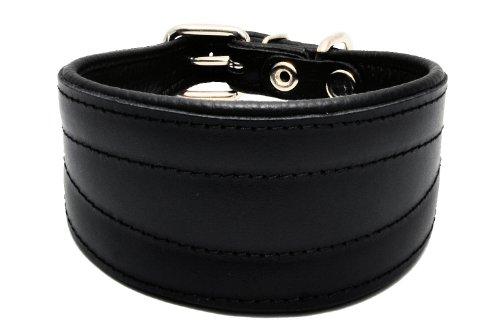 Collare per cani, fatto a mano in vero cuoio per Lurcher/levriero Greyhound/levriero Whippet, colore: nero