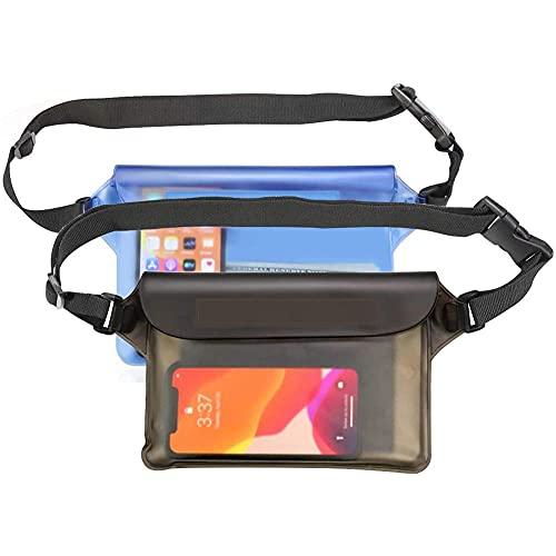 2 Piezas De La Bolsa Impermeable con Pantalla De Cinturón Ajustable Puede Ser Tocado para La Natación, Buceo, Paseos En Bote, Pesca, Gris Y Azul