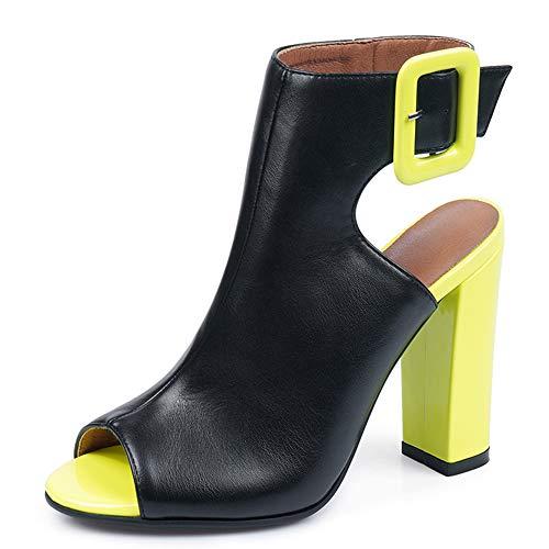 Si Diosa Moda Mujer Sandalias Tacon Ancho Tacon Alto Peep Toe Verano Botines Zapatos Animal Print Correa De...