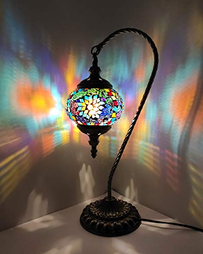 Marrakech Swan Neck Turkish Table Lamp Handmade Mosaic Glass Desk Bedside Lamp Moroccan Tiffany Style Night Light for Living Room Bedroom Coffee Table (Green)