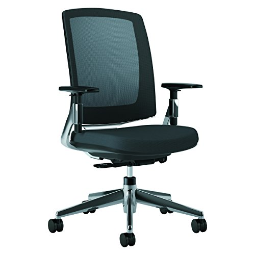 HON Lota Mid-Back Work Chair - Mesh Back Computer Chair for Office Desk, Black with Aluminum Base (H2283)
