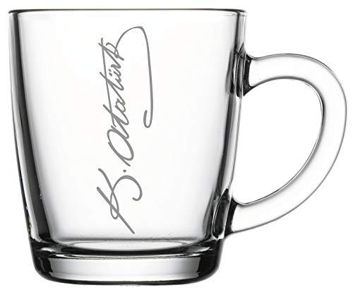 aina Cay Bardagi Tee Gläser mit Gravur Glas Bardak Teegläser 6 Stück Set Türkiye Türkei Atatürk imza